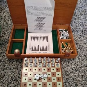 Vintage chess checkers backgammon